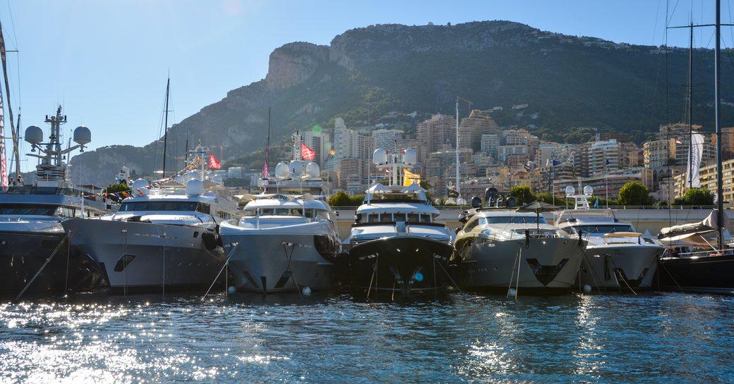 monaco luxury yacht line up in port hercules