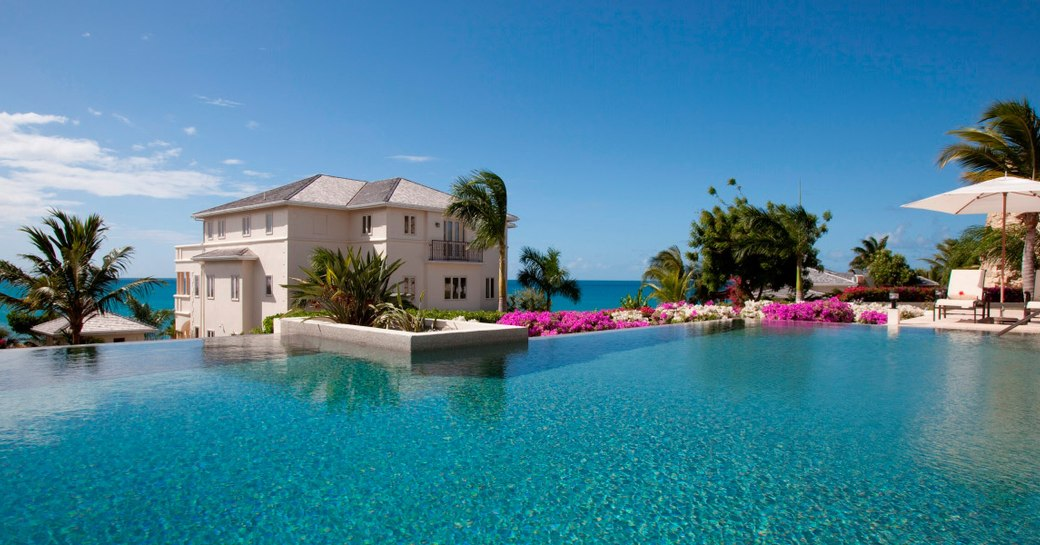 A light blue pool belonging to the Blue Spa Hotel in Antigua