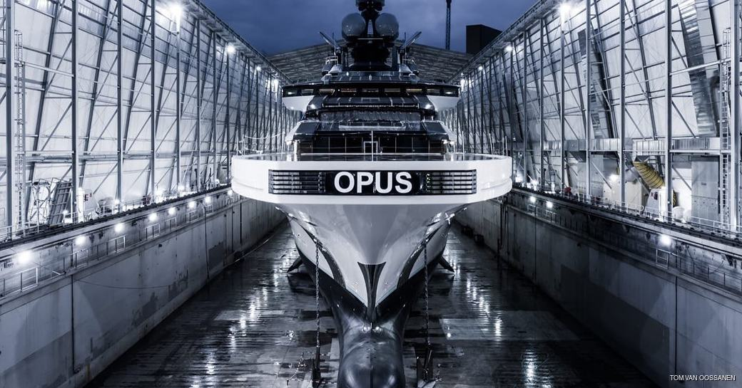 luxury yacht opus sits in the construction shed