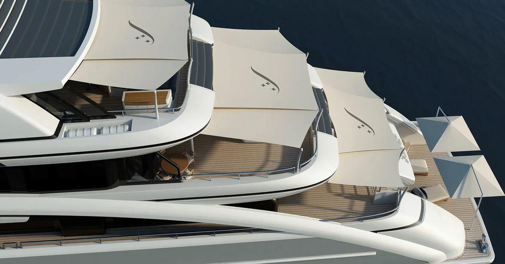 luxury yacht soaring aft decks shaded