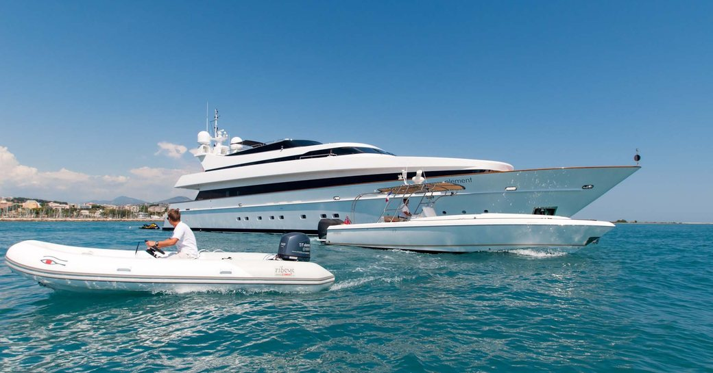 Superyacht ELEMENT at anchor with tender alongside