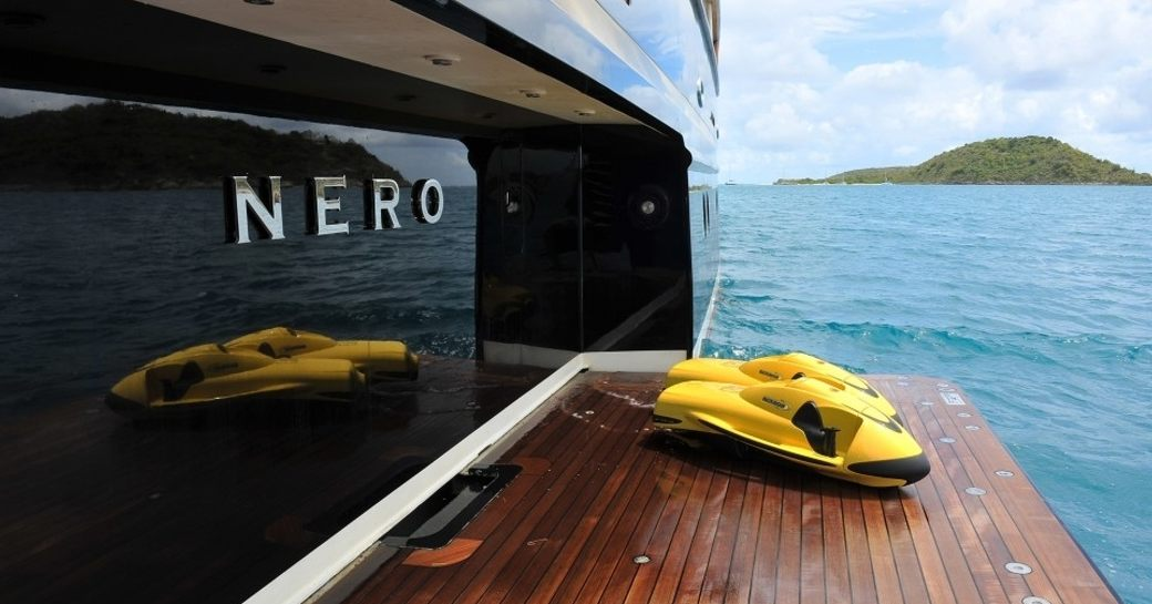 swim platform with seabobs aboard charter yacht NERO