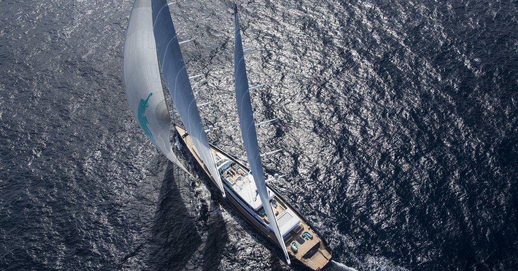 aerial view of sailing yacht aquijo