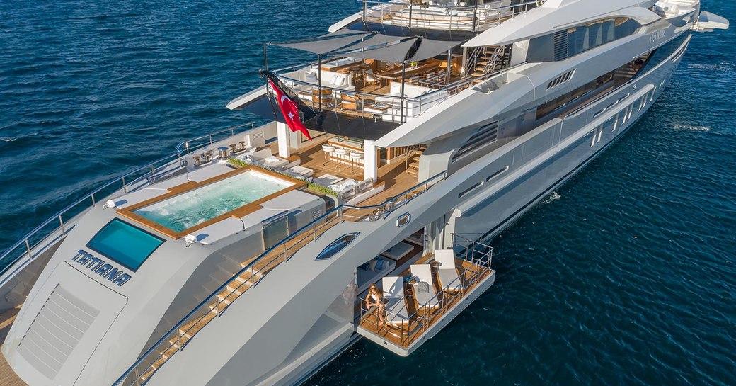 side balconies and aft decks on megayacht tatiana