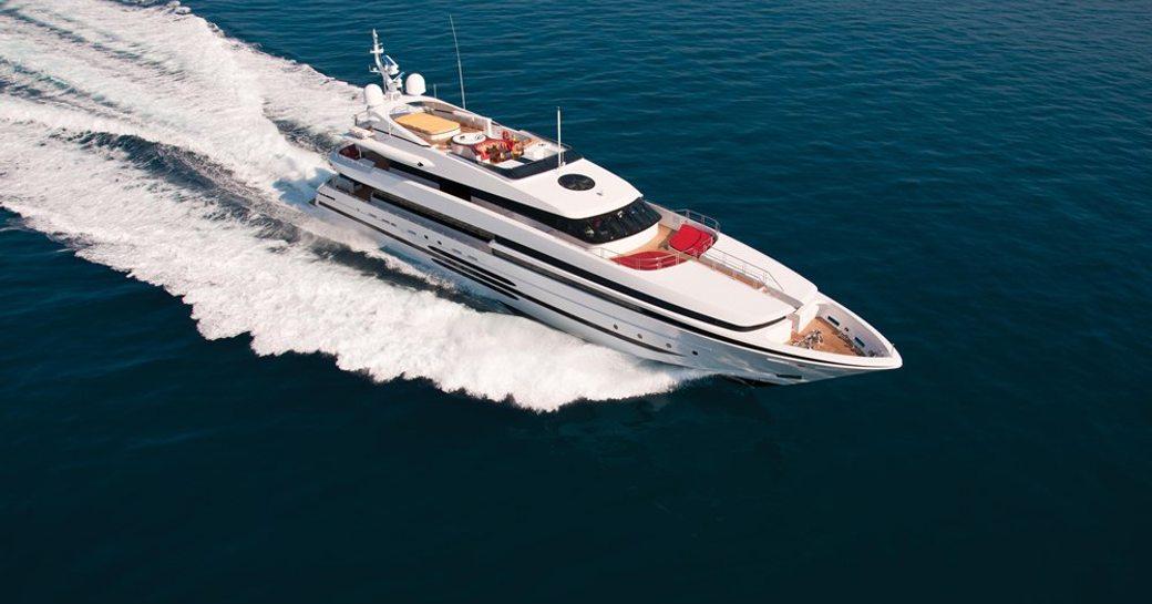 superyacht balista underway aerial shot