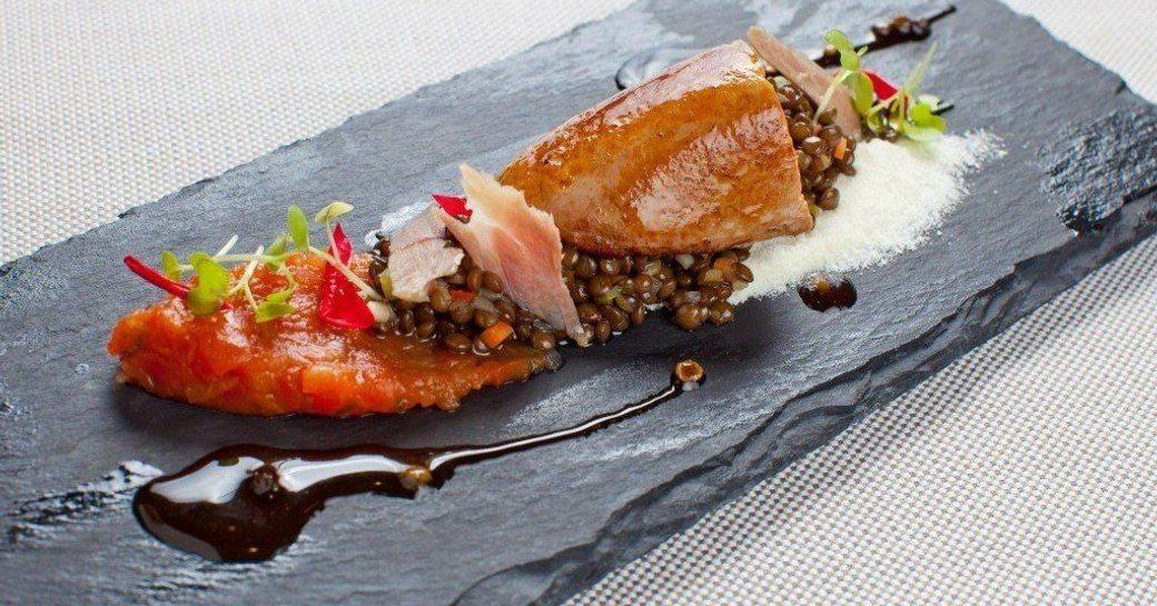 Fine dining cuisine main meal