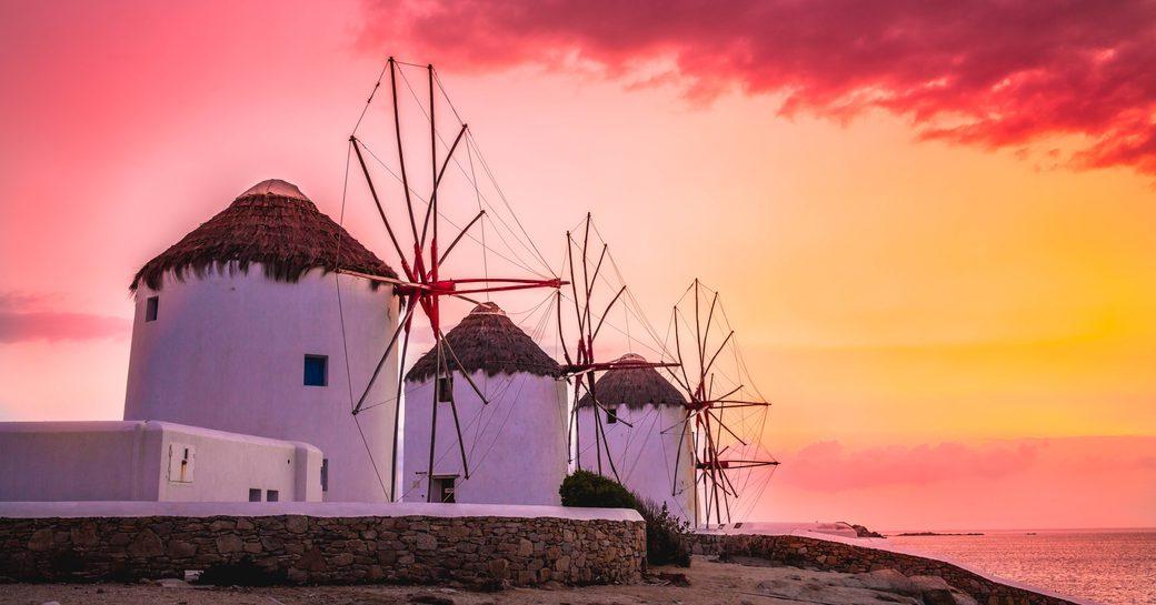 Windmills sunset in Mykonos