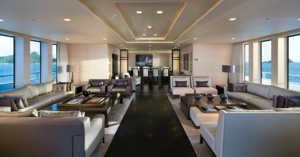 large seating area in the main salon of superyacht SIREN
