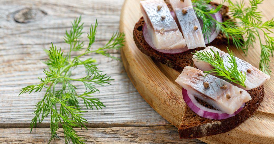 smørrebrød served on a Norway yacht charter
