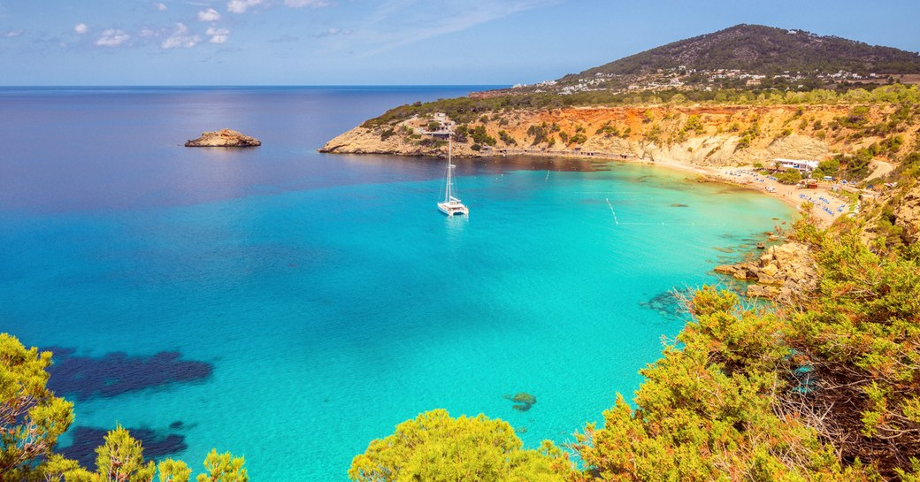 clear blue sea in sheltered bay in ibiza