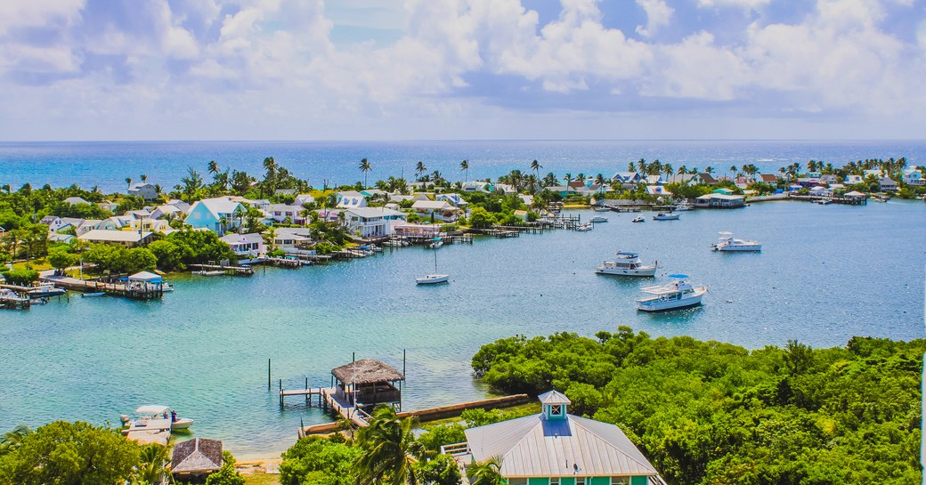 View over Hope Cay harbour in the Abacos