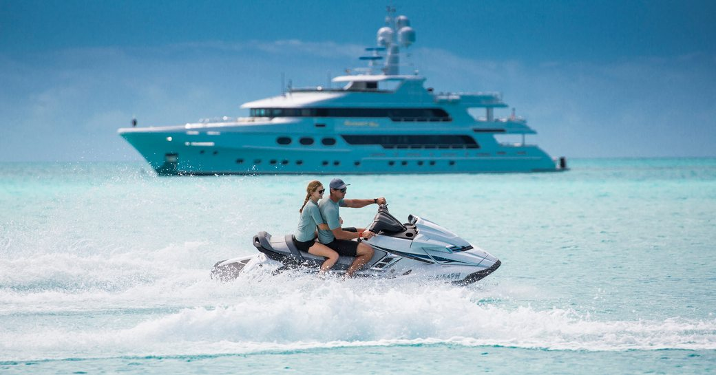 superyacht with jet-skis