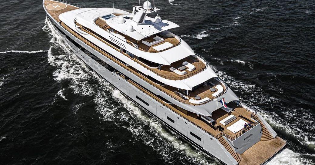 luxury yacht moonrise on sea trials