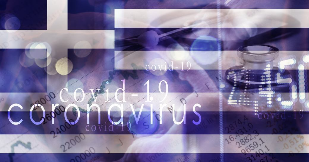 flag of greece with covid 19 research