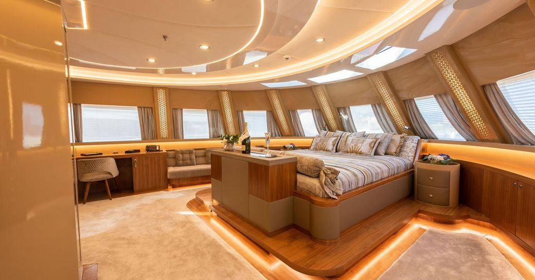 Master stateroom on ARESTEAS, with panoramic views over the surroundings