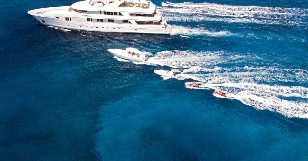 Superyacht RHINO with her tenders in the Virgin Islands