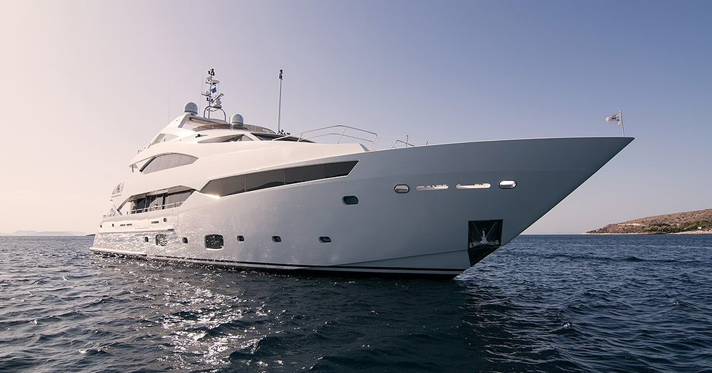 An image of Sunseeker PATHOS sat at-anchor