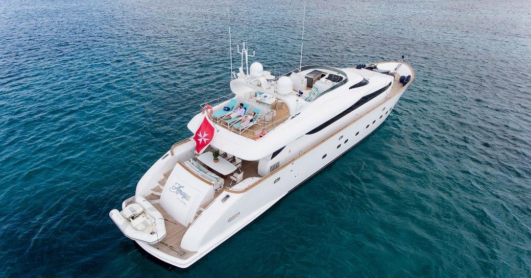 Aerial shot of luxury yacht AMAYA