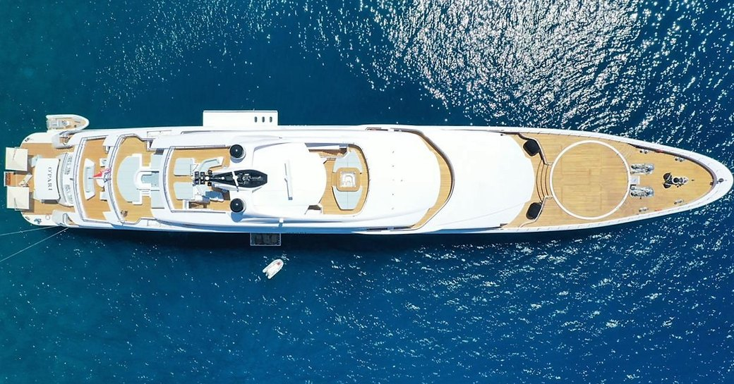 View of superyacht O'PARI directly from above, showing entire yacht