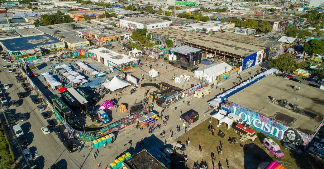 installations and people in Wynwood during Art Basel Miami