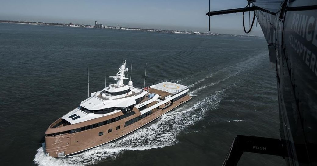 superyacht la datcha as seen from helicopter