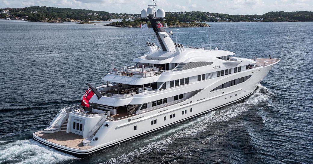 Running shot of luxury charter yacht ARETI