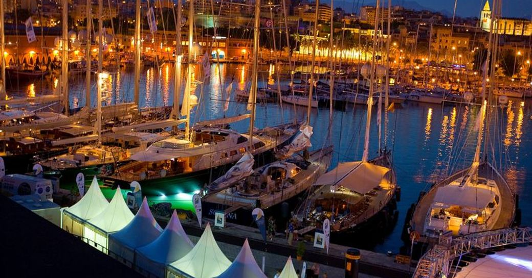Sailing yachts berthed ahead of the Superyacht Cup Palma