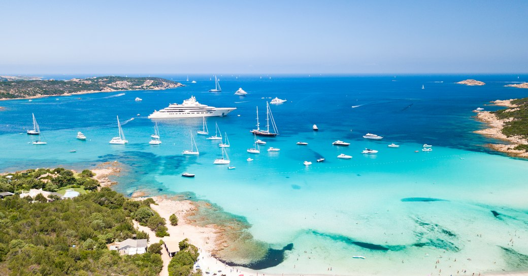 blue water and sandy beaches off the coast of sardinia