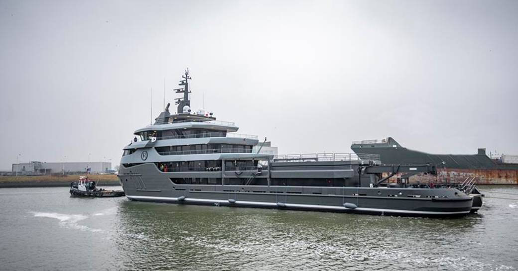Luxury superyacht RAGNAR being launched