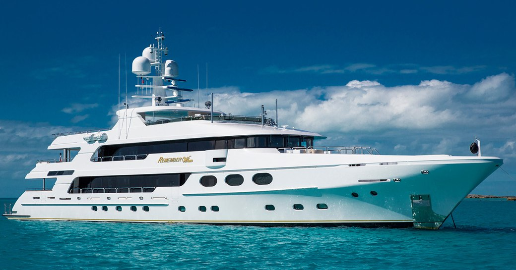 superyacht Remember When anchored on a Caribbean yacht charter