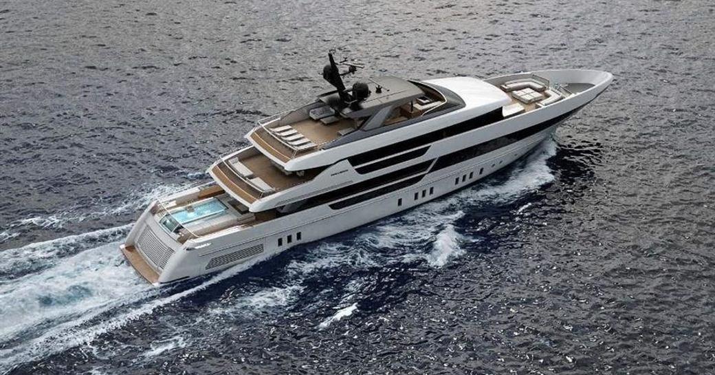 Superyacht Seven Sins underway