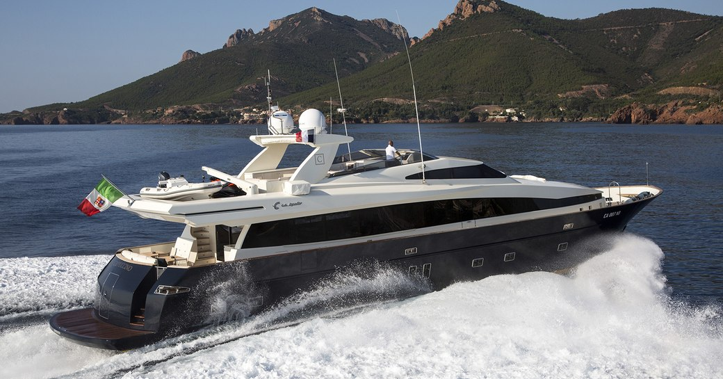 luxury charter yacht cappuccino on the water