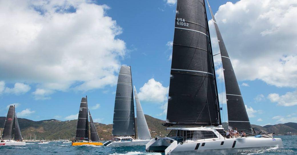 Boats in regatta in the virgin islands