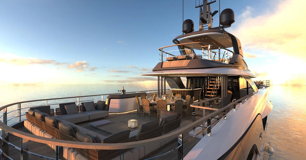 the stunning view from the upper aft deck of charter yacht GECO