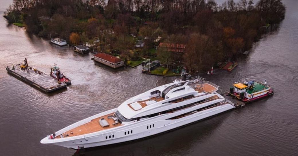 superyacht galina being towed after launch