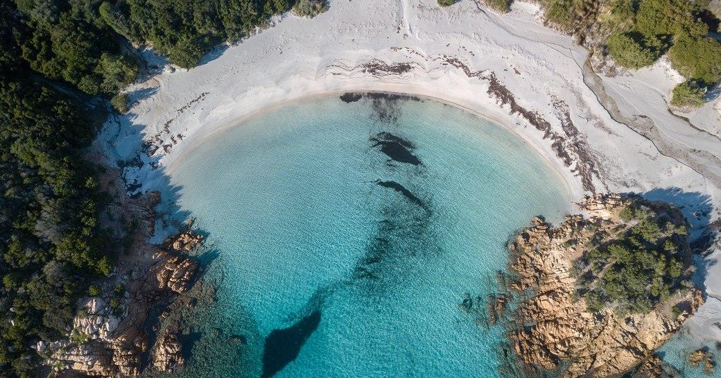 Sardinia sandy beach as seen from aerial view
