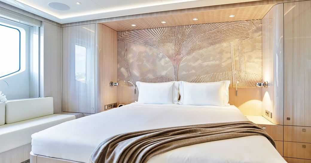 guest cabin on luxury yacht soaring