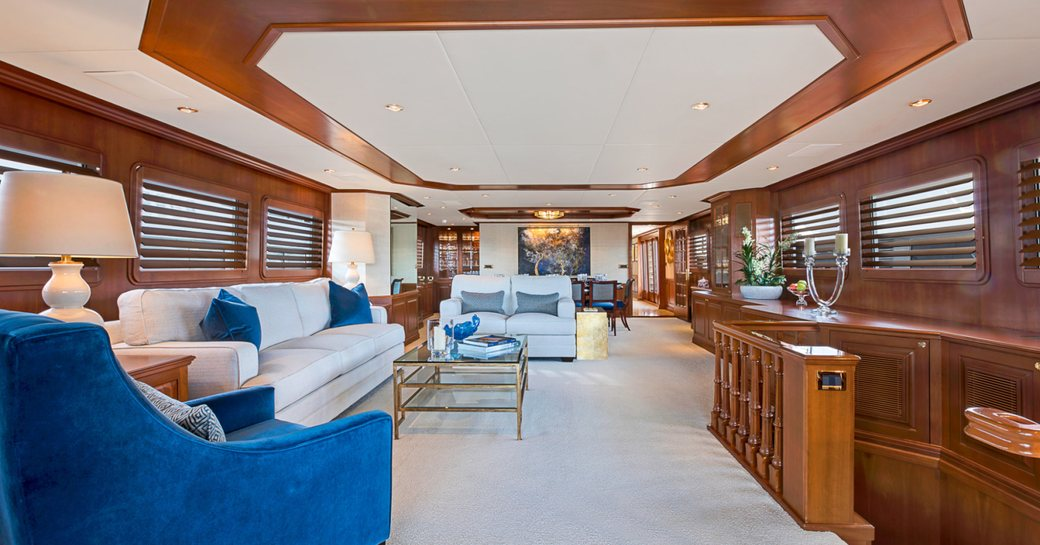timeless styling of main salon on charter yacht PRAXIS