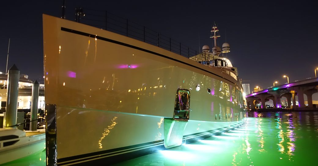 superyacht in miami at nightfall