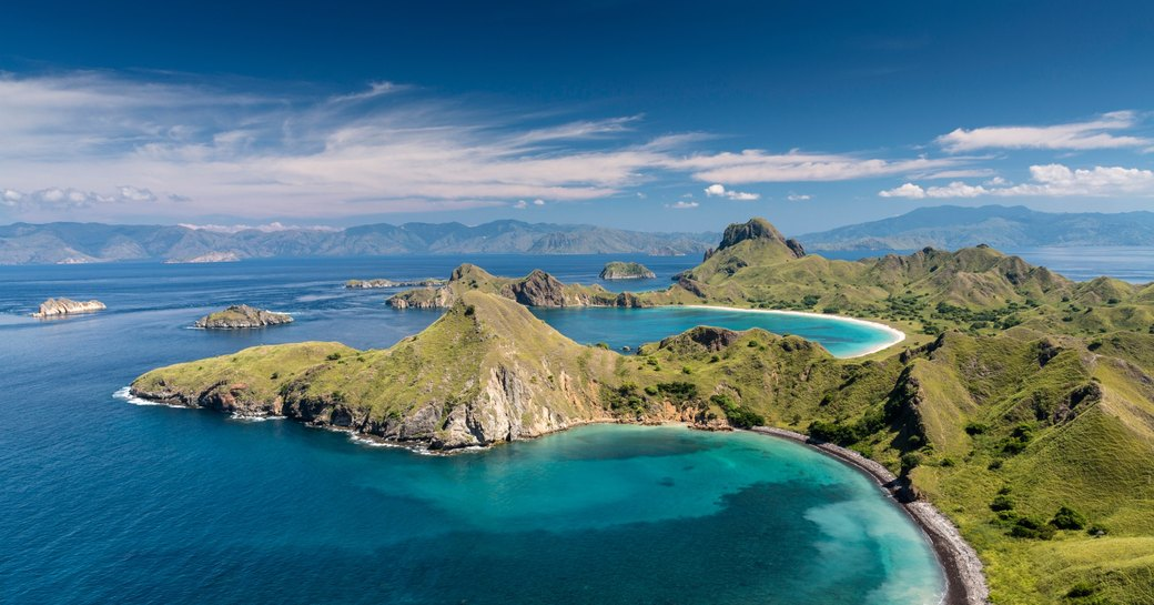 dramatic coastal landscape of Flores, an island that makes up part of the Komodo National Park in Indonesia