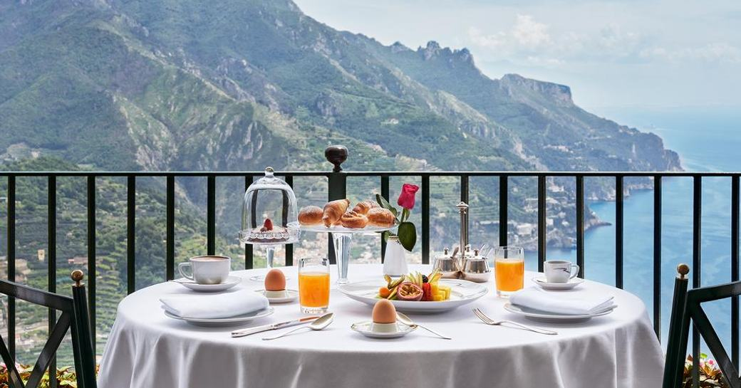 Incredible views from restaurant in Ravello which overlooks the sea