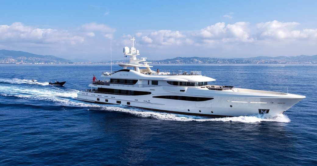 superyacht Elixir underway ahead of tender on a luxury yacht charter in the Mediterranean