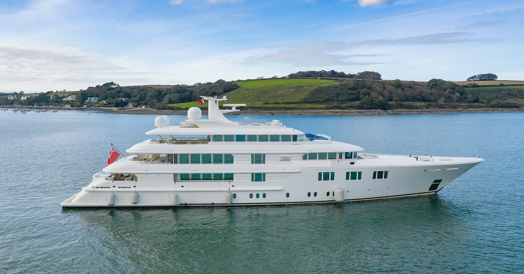 Lady E superyacht arriving to Cornwall for refit at Pendennis, Falmouth