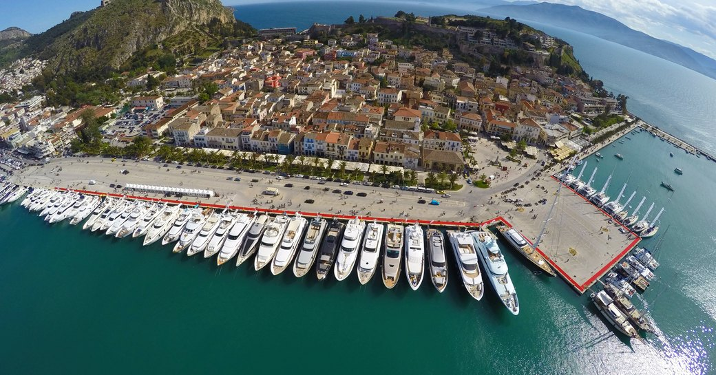 Aerial of luxury charter yachts at show in Nafplion Greece