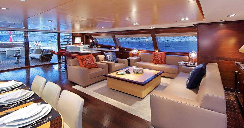 main salon on luxury yacht prana