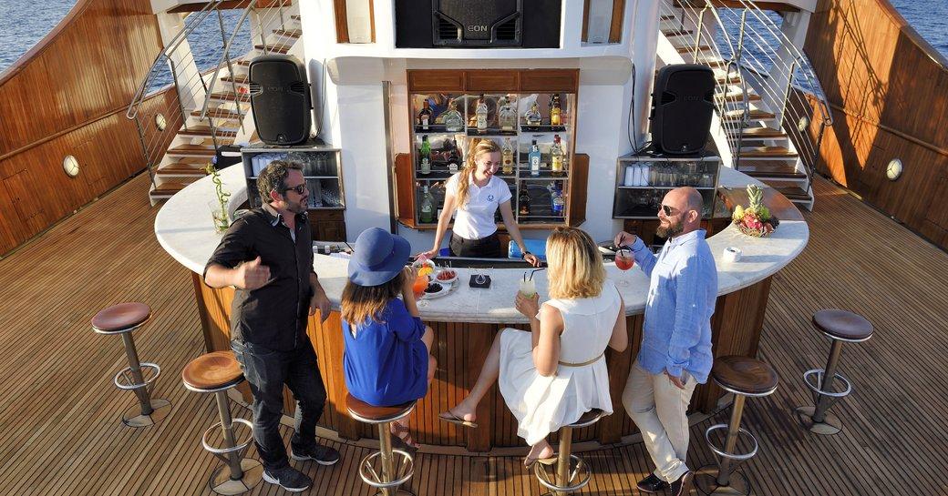 bar onboard superyacht christina o