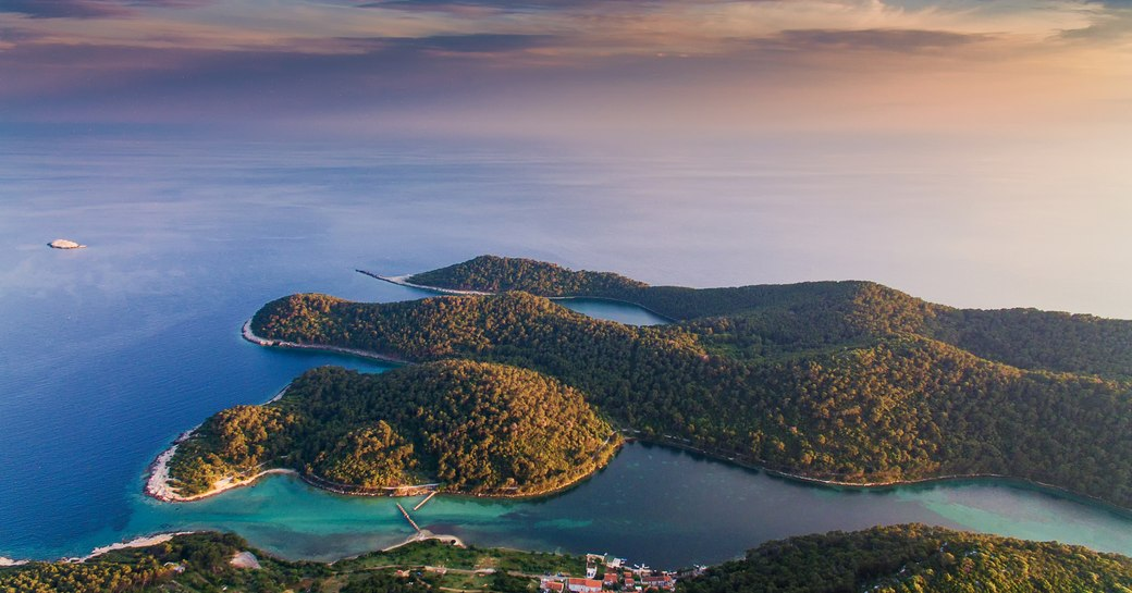 Island of Mljet, Croatia from aerial perspective