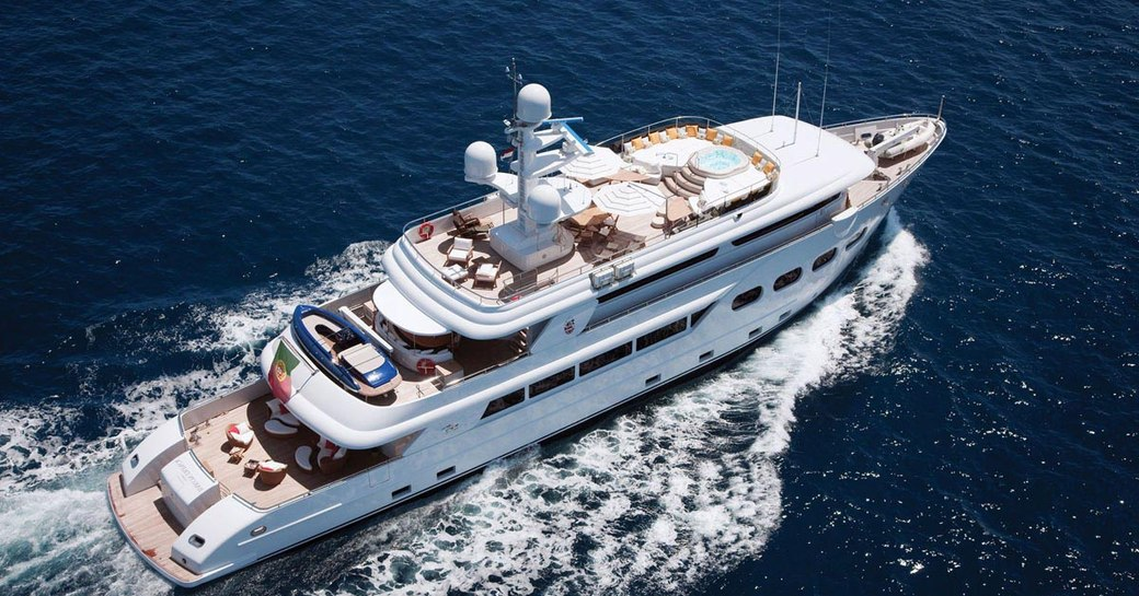 Aerial image of luxury charter yacht Baron Trenck, with three deck areas in view