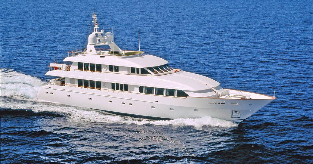 Luxury yacht M4 underway