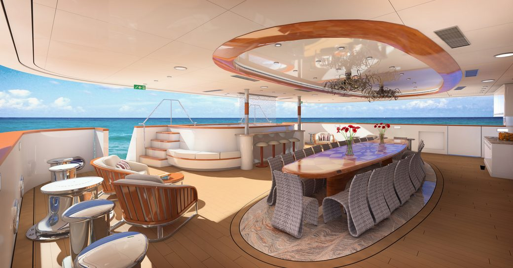 alfresco dining and lounging on aft deck of charter yacht LEGEND